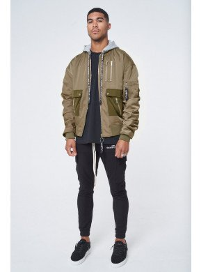 RUCHED SLEEVE EMBROIDERED BOMBER
