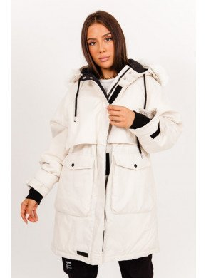 Oversized Parka Waterproof Fur Beige