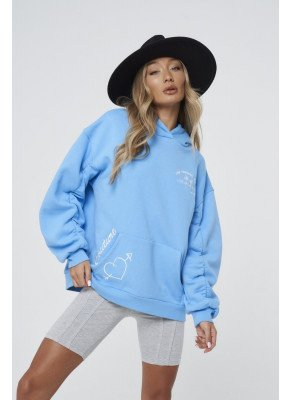 PALM GRAPHIC RUCHED SLEEVE HOODIE