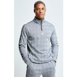 SIKSILK DOGTOOTH CHECK QUARTER ZIP HOODIE