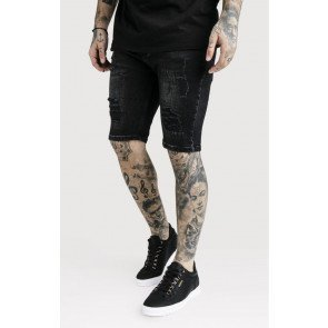 SikSilk Distressed Skinny Shorts – Washed Black