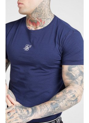 SikSilk Lounge Tee - White & Navy (2 Pack) - 1 White Tee & 1 Navy Tee